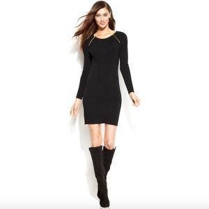 EUC INC Long Sleeve Diagonal Zip Sweater Dress M